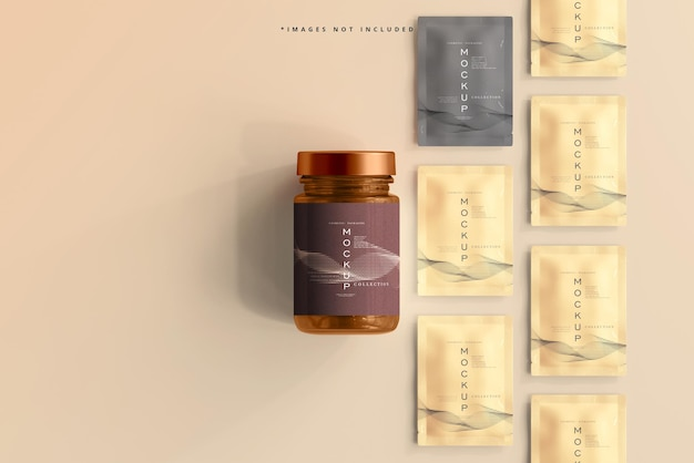 Amber glazen cosmetische pot en zakje mockup