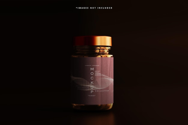 Amber glazen cosmetische pot mockup