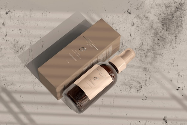 Amber glazen cosmetische spuitfles met doosmodel
