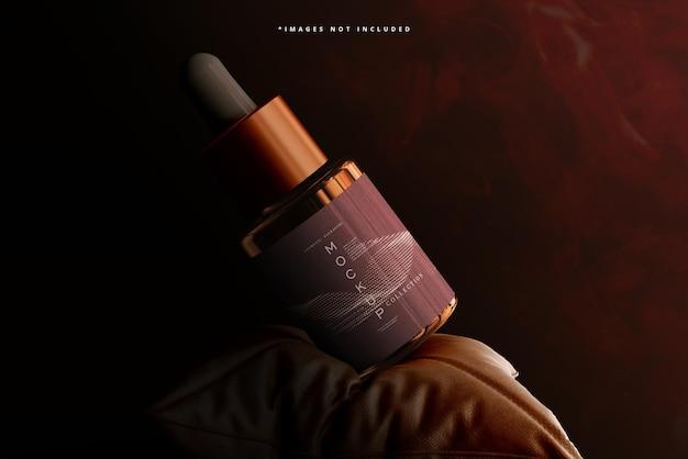 Amber glazen druppelflesje en doosmodel