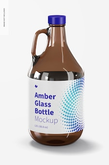 Amber glazen fles met handvat jar mockup