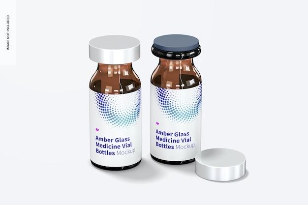 Amber glazen medicijnflesje flessen mockup