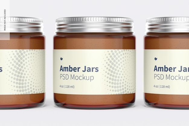 Amber potten met metalen dop mockup, close-up