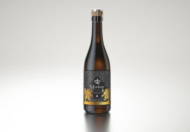Amber wijnfles mockup ontwerp