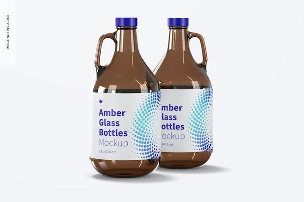 Amberkleurige glazen flessen met model met handvatpot, vooraanzicht