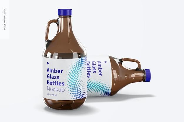 Amberkleurige glazen flessen met model met handvatpot