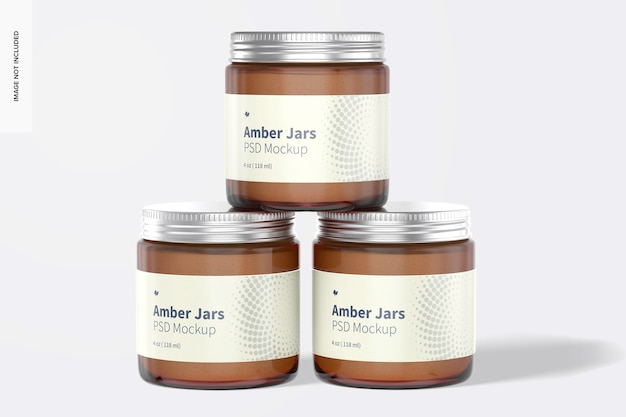 Amberpotten met metalen dopmodel, vooraanzicht