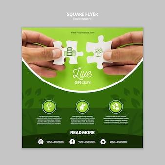 Ambiente verde vivo con modello di volantino quadrato pezzi di puzzle