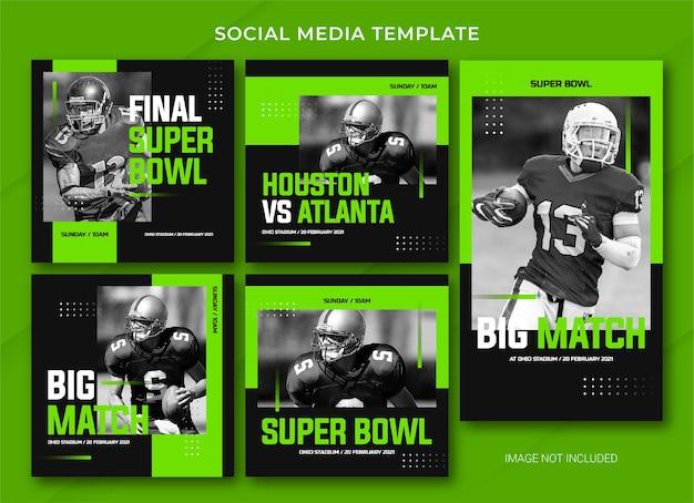 American football social media bericht bundelsjabloon