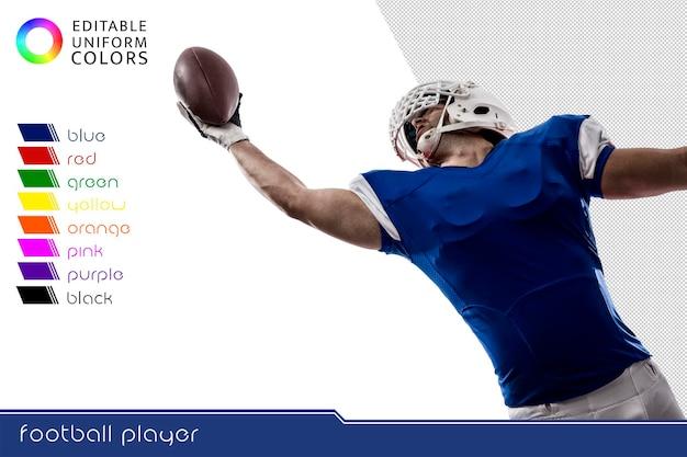 American football-speler met verschillende kleurrijke uniformen uitgesneden