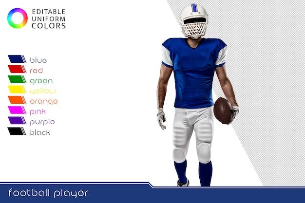 American football-speler met verschillende kleurrijke uniformen