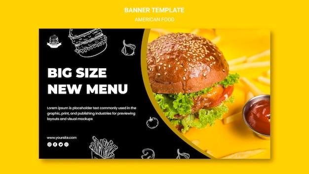 Amerikaans eten banner sjabloon concept