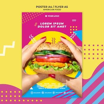 Amerikaans eten flyer sjabloon met foto