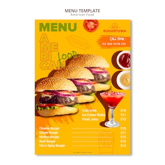 Amerikaans eten menu sjabloonontwerp