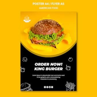 Amerikaans eten poster sjabloon stijl