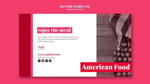 Amerikaans eten sjabloon banner