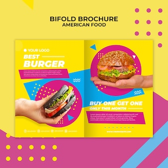 Amerikaans eten tweevoudige brochure sjabloon