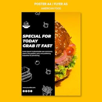 Amerikaans voedsel flyer sjabloon thema