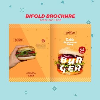 Amerikaans voedselconcept tweevoudige brochure