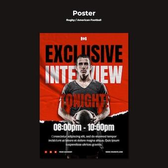 Amerikaans voetbal poster sjabloon