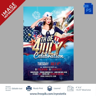 Amerikaanse 4 juli celebration party flyer