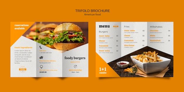Amerikaanse drievoudige brochure over fastfood en frietjes