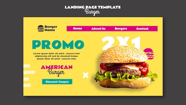 Amerikaanse hamburger-bestemmingspagina-websjabloon