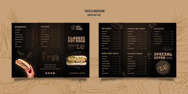 Amerikaanse klassieke hotdogs driebladige brochure