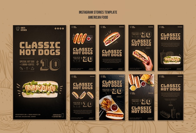 Amerikaanse klassieke hotdogs instagramverhalen