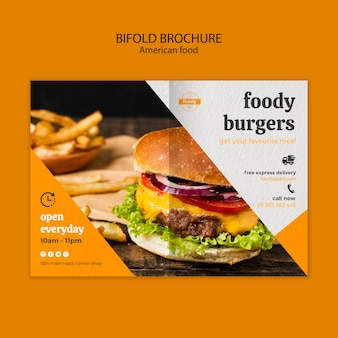 Amerikaanse tweevoudige brochure over fastfood en frietjes