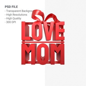 Amo a mamá con arco y cinta 3d rendering aislado