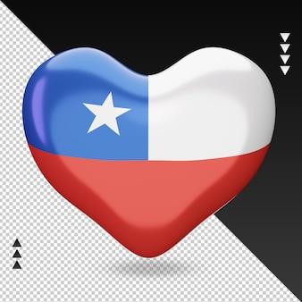 Amo la vista frontal de la representación 3d del hogar de la bandera de chile