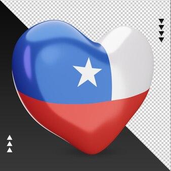 Amor chile bandera hogar renderizado 3d vista izquierda