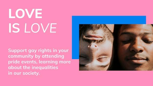 El amor es amor plantilla psd lgbtq orgullo mes celebración blog banner