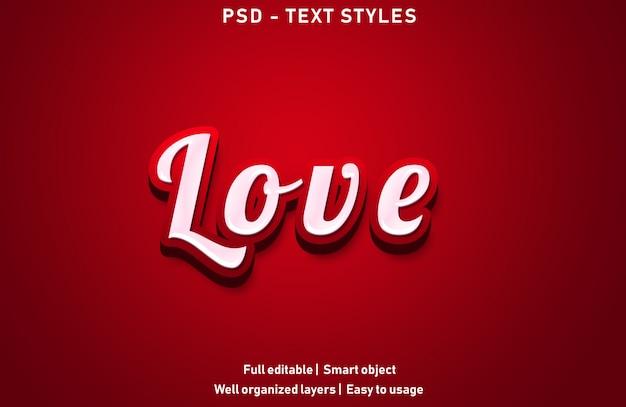 Amor texto efectos estilo editable psd