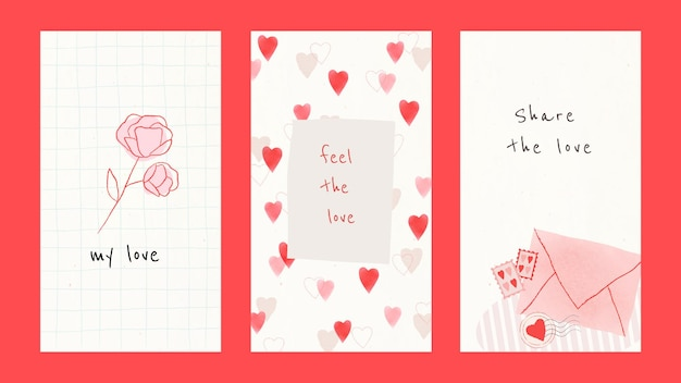 Amor en todas partes plantilla editable psd colección de redes sociales
