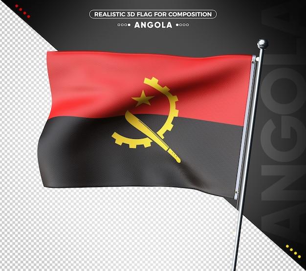 Angola 3d-vlag met realistische textuur