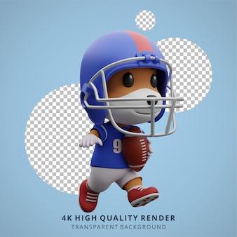 Animal dog american football-speler 3d schattig karakter ilustration