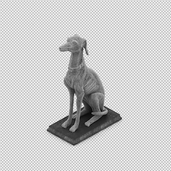 Animal estatua 3d aislado render