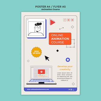 Animatie ontwikkeling poster sjabloon