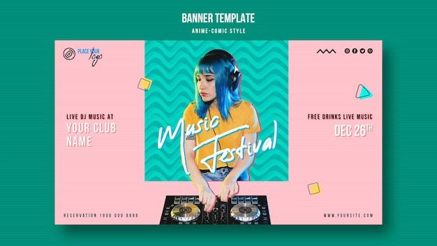 Anime-komische stijl vrouw afspelen van muziek banner