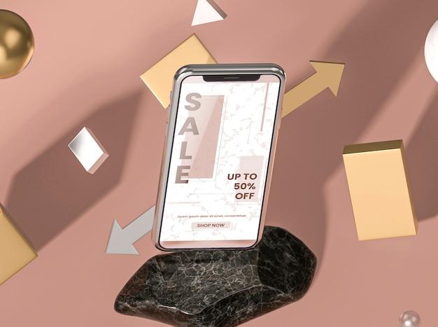Annuncio di vendita mock-up 3d per telefono cellulare