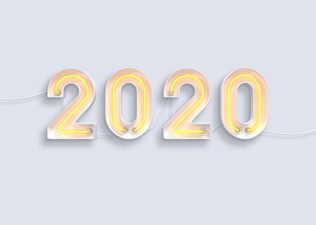 Año nuevo 2020 hecho del alfabeto de neón