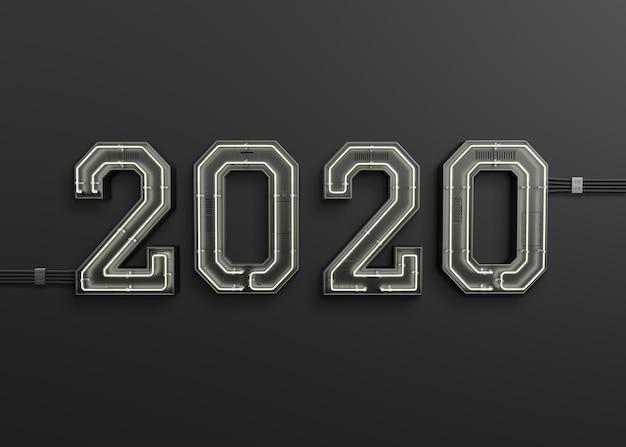Año nuevo 2020 hecho de luz de neón