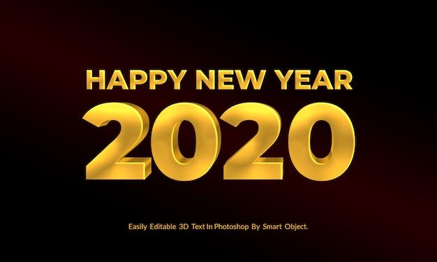 Año nuevo dorado texto 3d estilo editable psd