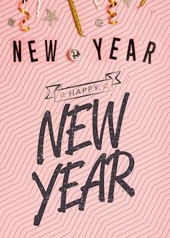 Año nuevo letras minimalistas sobre fondo rosa