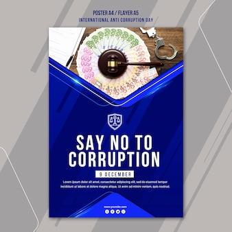 Anti-corruptie dag poster sjabloon