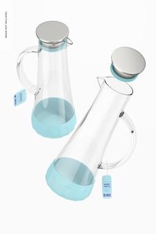 Anti-slip glazen waterkruiken mockup, drijvend