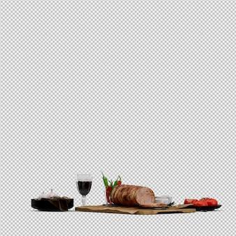 Antipasti di pomodoro, carne su tavola di legno con bicchiere di vino