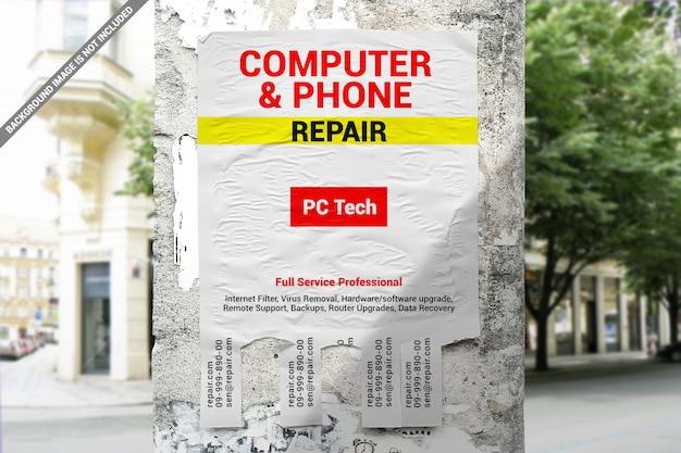 Anuncio publicitario de rotura en la maqueta del pilar de concreto